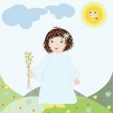 Mädchen mit Ostern-Weide Lizenzfreies Stockfoto
