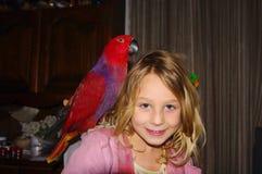 Mädchen mit Papageien stockbilder