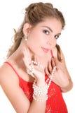 Mädchen mit Perlen stockbilder
