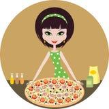Mädchen mit Pizza Stockfotos