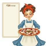 Mädchen mit Pizza Stockbild