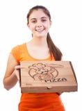 Mädchen mit Pizzakasten lizenzfreie stockfotos
