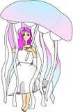 Mädchen mit Quallenregenschirm stockbild