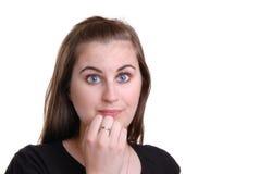 Mädchen mit recht blauen Augen stockbild