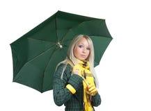 Mädchen mit Regenschirm über Weiß Lizenzfreies Stockbild