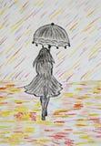Mädchen mit Regenschirm geht unter einen farbigen Regen Stockbilder
