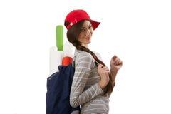 Mädchen mit Rolle des Papiers Lizenzfreies Stockfoto