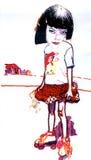 Mädchen mit Rollerochen Stockbilder