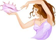 Mädchen mit rosa Muschel Stockbild