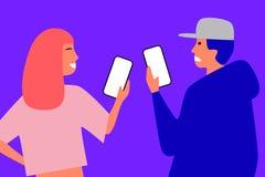 Mädchen mit roter Haar- und Jungenstellung mit Telefonen lizenzfreie abbildung