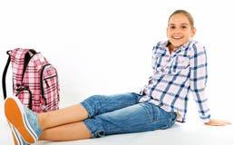 Mädchen mit Rucksack Stockfotografie