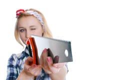Mädchen mit sah Lizenzfreie Stockfotografie