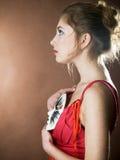 Mädchen mit Schablone lizenzfreies stockfoto
