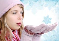 Mädchen mit Schneeflocke Lizenzfreie Stockfotografie