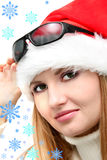 Mädchen mit Schneeflocken Lizenzfreie Stockfotos