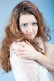 Mädchen mit Schnemake-up lizenzfreies stockbild