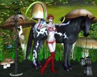 Mädchen mit Schwarzweiss-Pferd Stockfotos