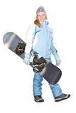 Mädchen mit Snowboard. Lizenzfreie Stockfotos