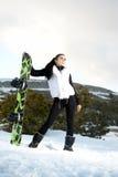 Mädchen mit Snowboard lizenzfreies stockfoto