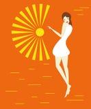 Mädchen mit Sonne Stockbild