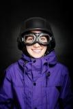 Mädchen mit Sturzhelm und Schutzbrillen Stockbilder