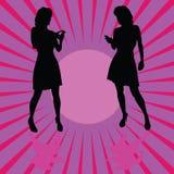 Mädchen mit Telefon auf Farbhintergrund-Vektorillustration Lizenzfreies Stockfoto