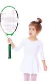 Mädchen mit Tennis-Schläger Stockbild
