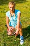 Mädchen mit Tennisschläger Stockfoto