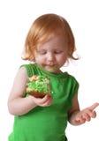 Mädchen mit Torte Stockfoto