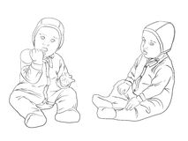 Mädchen mit Toy.Sketch Schwarzweiss Stockfoto