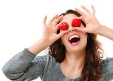 Mädchen mit Valentine Hearts über Augen Stockbild