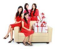 Mädchen mit vielen Geschenkboxen Lizenzfreie Stockfotos