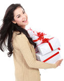 Mädchen mit vieler Geschenkbox Stockbilder