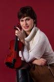 Mädchen mit Violine Stockfoto