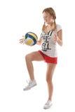 Mädchen mit Volleyballball Stockbild