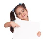 Mädchen mit weißem Vorstand stockfotografie