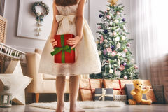 Mädchen mit Weihnachtsgeschenk lizenzfreie stockfotografie