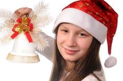 Mädchen mit Weihnachtsglocke Lizenzfreies Stockbild