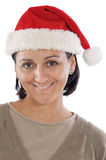 Mädchen mit Weihnachtsmann-Hut Lizenzfreies Stockbild
