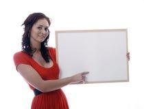 Mädchen mit whiteboard lizenzfreies stockfoto