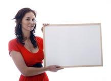 Mädchen mit whiteboard stockfotografie