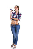 Mädchen mit Zöpfen in den großen Gläsern Lizenzfreie Stockfotos