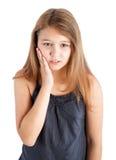Mädchen mit Zahnschmerzen lizenzfreie stockfotos