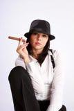 Mädchen mit Zigarre Stockbilder