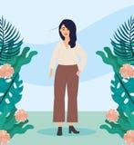 Mädchen mit zufälliger Kleidung der Bluse und der Anlagen mit Frisur stock abbildung