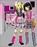 Mädchen mit zwei Art und Weise im Innenraum lizenzfreie abbildung