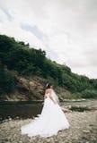 Mädchen, Modell, Braut auf einem Hintergrund des Flusses und Berge Getrennt auf Weiß Stockbild