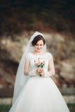 Mädchen, Modell, Braut auf einem Hintergrund des Flusses und Berge Getrennt auf Weiß Lizenzfreie Stockfotos