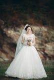 Mädchen, Modell, Braut auf einem Hintergrund des Flusses und Berge Getrennt auf Weiß Stockbilder