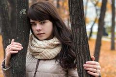 Mädchen nahe einem Baum gegen einen Hintergrund des Herbstlaubs Stockbilder